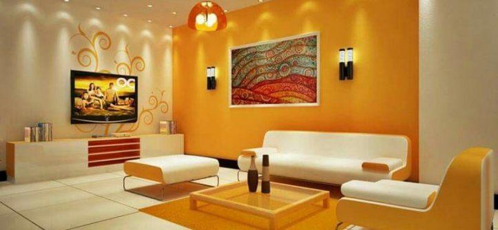 gam màu vàng cam mang lại không gian ấm cúng hơn cùng tông nóng đặc biệt này khiến ngôi nhà bạn nổi bật sáng rực hơn, liên hệ ngay dịch vụ sơn nhà tại quận 1